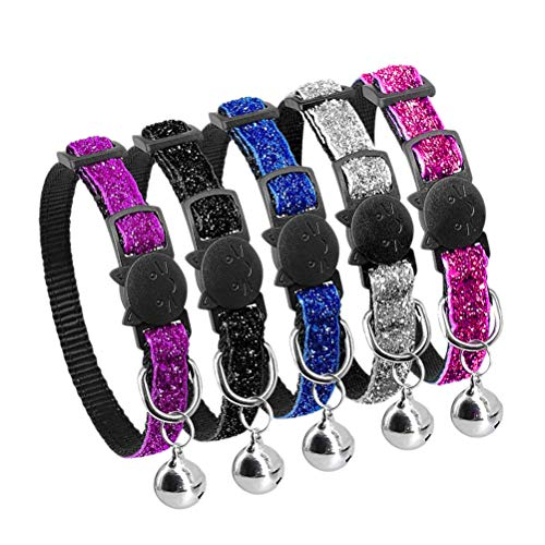 POPETPOP 5pcs Bling Hundehalsband Bells Kitten Muster Sparkly Nylon Welpen Halsbänder Einstellbare Breakaway für mittlere Kleine extra Kleine Hunde Boy Girl -