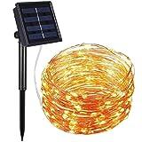 RSYP LED lampara solar impeable cadena solares 12M 100 LEDs 8 Modos de la forma de luminación decorativas accionadas para jardín, patio, hogar, bodas, fiestas, Navidad (Amarillo)