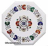 Gifts And Artefacts 30,5cm weiß Marmor achteckig Couchtisch Top Multi feine Steine Inlay Blume Art