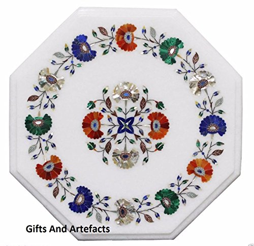 Inlay-top-couchtisch (Gifts And Artefacts 30,5cm weiß Marmor achteckig Couchtisch Top Multi feine Steine Inlay Blume Art)