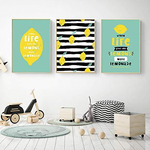 Unbekannt MFMing Raum Wandkunst Home Cartoon Frische Zitrone Nette Dekor Malerei Nordischen Stil Leinwand Moderne Bild Für Wohnzimmer Room-50x70cmx3p kein Rahmen -