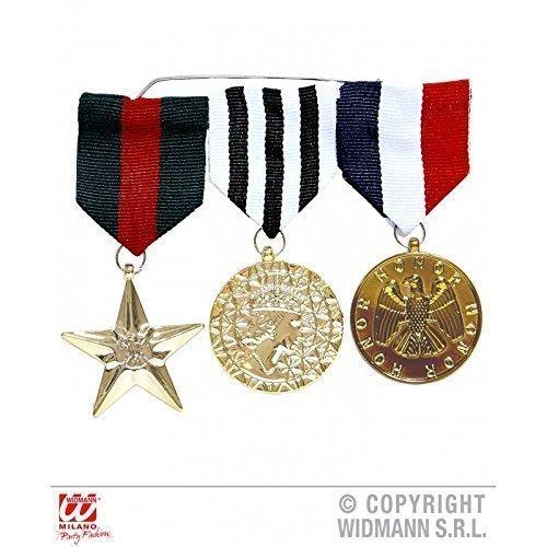 (Lively Moments 3 Medaillen / Orden / Abzeichen für Faschingskostüm als Offizier oder Soldat / Kostüm Zubehör)