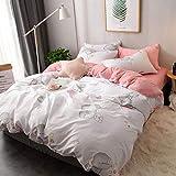 Coral Velvet Vierteiliges Set AB Doppelseitiges Design Winter Flanell, Buchstaben Modernes Muster Laken Bettbezug (Farbe : H, größe : 2m)
