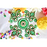 Sparkle CnC's Indian Traditional Dazzling Colored Acrylic Rangoli. Celebration Accessory Painstakingly Hand Crafted In Vibrant Colors.(Green Kerri) Size: 9X9 Inch Total 5 Parts In This 1 Rangoli Set