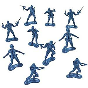 BIG BAG OF BLUE ARMY PLASTIC TOY SOLDIERS - ARMY MEN! 144 Count.