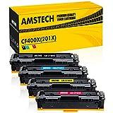 Amstech 4 Pack CF400X CF400A M277dw Toner Kompatibel für HP 201X 201A CF400X-CF403X für Toner HP Laserjet Pro MFP M277dw HP Color Laserjet Pro M252dw M277n M277 M252n M252 M274n M277c6 M274 Schwarz