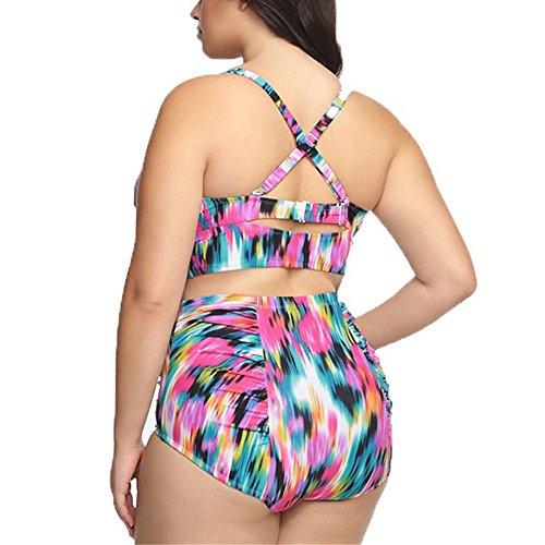 GGTFA Donne di Grandi Dimensioni di Costumi da bagno Stampa Floreale Halter Bikini Push-up Vita Alta Costume da bagno Beachwear Rosa