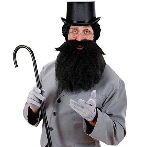 Barbe carnaval noire avec moustache et élastique fausse barbe noire