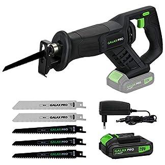 GALAX PRO Sierra Sable, 20V con Batería de Litio de 2.0Ah, Incluye Cargador, 5 Hojas, Velocidad Regulable 0-3000SPM, Longitud de Carrera de 22mm y 150 mm máx Corte/GP97705