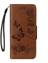 COOSTOREEU Funda Galaxy S9 Plus, Patrón de Mariposa Premium PU Cuero Slim Fit Folio Funda con Stand Función para Samsung Galaxy S9 Plus,Marrón