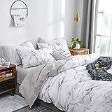 Luofanfei Baumwolle Bettwäsche 220x240 cm Weiß Bettbezüge mit Mamor Muster, 3-Teilig Super Weiche Atmungsaktive Baumwollbettwäsche mit Reißverschluss und 2 Kissenbezüge 80x80cm (DLS-AB,)