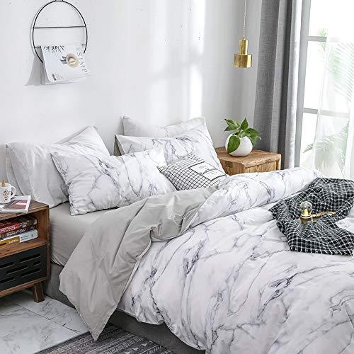 Luofanfei Baumwolle Bettwäsche Marmor Optik Muster 3 Teilig 200x200 cm Bettbezug Set Bettdeckenbezug Doppelbett mit Reißverschluss Zweiseitig Gedruckt Winter für Männer und Frauen (DLS-AB)