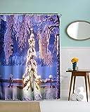 A.Monamour Winter Urlaub Jahreszeit Outdoor-Landschaft Weißen Schnee Hoarfrost Weihnachtsbaum Fotografie Bild Drucken Tuch Duschvorhang Keine Liner Benötigt 180X180 Cm / 72X72 Zoll