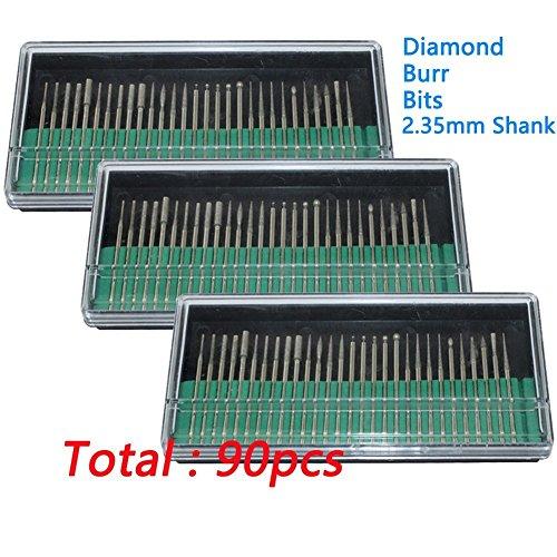 Preisvergleich Produktbild cnmade 90PCS Diamant-Frässtifte Bits Bohrer Glas Edelstein Metall für Dremel Handwerker Rotary Tool