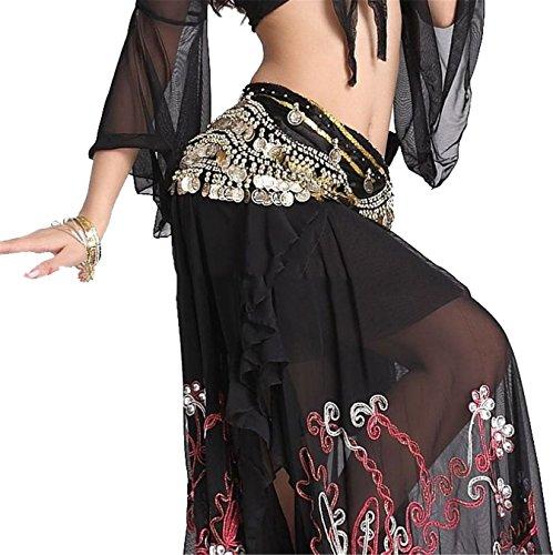 Danse du ventre costume Hip écharpe jupe Hip écharpe With 3 Rangées 248 Gold Coins Foulard Costume Light Pink