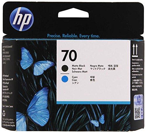 HP 70 Tête d'impression d'origine Noir Mat et Cyan