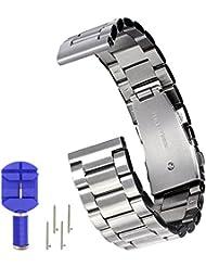 N. Oranie moto 3602nd Gen reloj banda correa 16mm/20mm/22mm ancho acero inoxidable Adjustbable Wirstband con Metal Arc hebilla para Motorola Moto 360SmartWatch (3punteros style-black), color plata, tamaño 22 mm