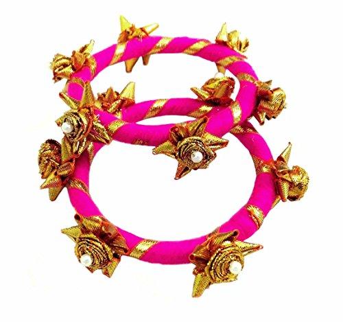 BLENT#63 Pink Gota Patti Flower Jewellery Bangle Set for Women/Kids/Girls/Bride/Bridal/Wedding/Haldi/Mehandi (Handmade Light...