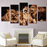 Canvas Painting 5 Piece HD Printed Lion Zoo Print Room Decor Print Poster Picture Modern Home Decoration SJDBF