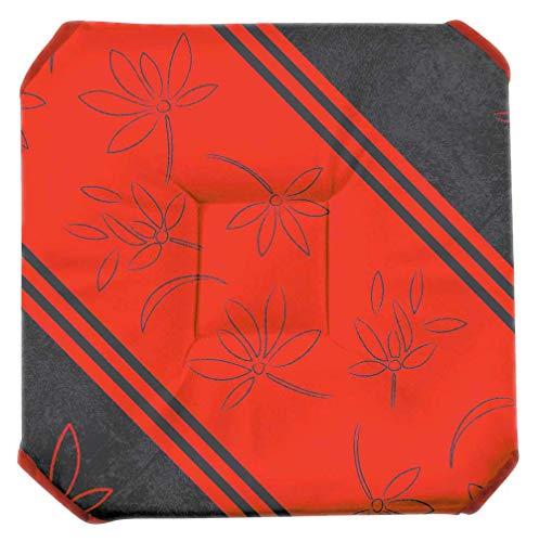 Galette de chaise anti-taches à rabats Lotus Lignes rouge