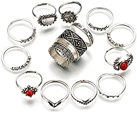 Shining Diva Fashion Oxidized Silver 14 Piece Midi Finger Ring Set (Silver)(rrsd8613r) for Girls
