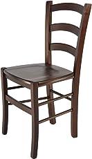 Tommychairs - Stuhl Venice für Küche und Esszimmer, Robuste Struktur aus lackiertem Buchenholz im Farbton Dunkles Nussbraun und Sitzfläche aus Holz. Stuhl Modell Venice
