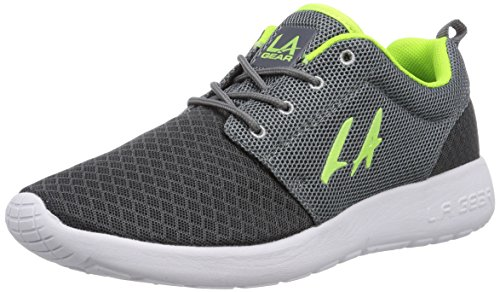 L.A. Gear Sunrise, Low-Top Sneaker donna, Grigio (Grau (Dk Grey-Lime 05)), 38