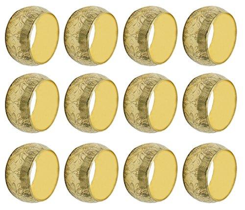 Serviettenring Messing (Messing Gold Blumen Serviettenringe 12er Set für Hochzeiten Abendessen Parteien Oder Jeden Tag Benutzen)