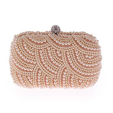 Woman Fashion Imitation Pearl Diamdons Abend Tasche Black