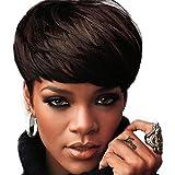 Afro Kurz Direkt Braun Haar Perücken Zum Afrikanisch Frau Mit Bangs Und Frei Perücke Deckel Natürlich Synthetik Hitze Beständig Perücken 9