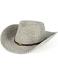 DNSJB Summer Cowboy Sun Hat-Outdoor Leisure Straw Hat Men s Folding Beach  Hat-Wind 4e9ba2d88a54