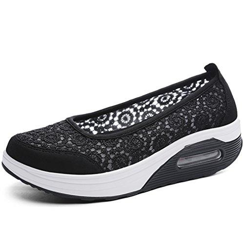 Solshine Damen Spitze Slip on Mesh Plateau Sportliche Freizeitschuhe Loafers Walkingschuhe (Low Wedge-flache Schuhe)