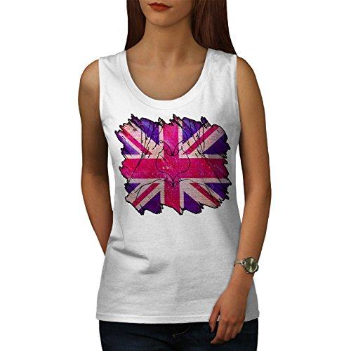 Vereinigt Königreich Herz Union Jack Damen Schwarz S-2XL Muskelshirt | Wellcoda  Weiß