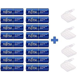 16x Fujitsu Mignon Akku HR3UTI - Blue NI-MH 1,2V 2000mAh AA LSD + 4X Box Akkuman.de Set