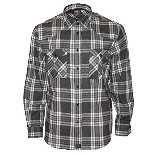 Schwarz Weiß Karo Check Flanell (ROCK-IT Apparel® Flanellhemd Herren Langarm Holzfällerhemd kariert Made in Europe Medium Schwarz/Weiß/Grau kariert)