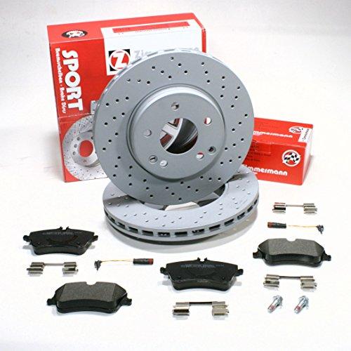 Preisvergleich Produktbild Zimmermann Sport Bremsscheiben COAT Z gelocht/Bremsen + Bremsbeläge + Sensoren vorne