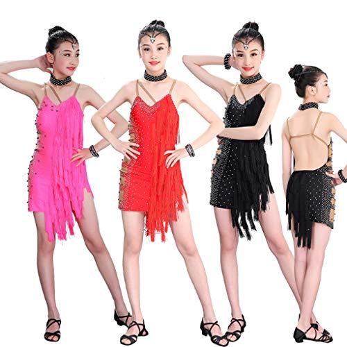 GUKFNNB Mit Fransen Paillette Lateinischer Tanz Lyrisch Wettbewerb Kleid for Mädchen Quaste Professionel Rumba Tango Performance Kostüm Ärmellos (Color : Rose red, Size : XXL) (Tanz Wettbewerbs Kostüm Lyrischen)