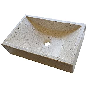 Lavabo de Piedra Blanco similar al granito o mármol – Sobre encimera