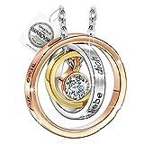 PAULINE & MORGENMama ich liebe dich Gravur Damen Halskette mit Kristallen von SWAROVSKI Weissgold plattiert, Kommt mit S
