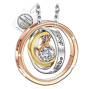 PAULINE & MORGEN Mother's Day Gift Pauline & Morden Mum, I Love You German Engraved Ladies Necklace–Comes In Gift Box With Swarovski Crystals, Nickel Free, 45+ 5cm Qsn5410des-w0507-b22