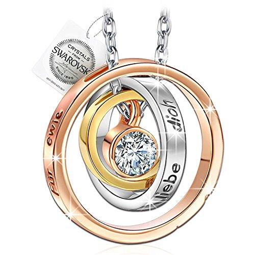 PAULINE & MORGEN'Mama ich liebe dich' Gravur Damen Halskette mit Kristallen von SWAROVSKI Weissgold plattiert, Kommt mit Swarovski Seal Tag und Geschenkbox, Nickel...