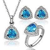 RHYJKOJ Schmuckset Vintage Blue Crystal Ring Halskette Und Ohrringe Kubikzircon Damen Schmucksets -