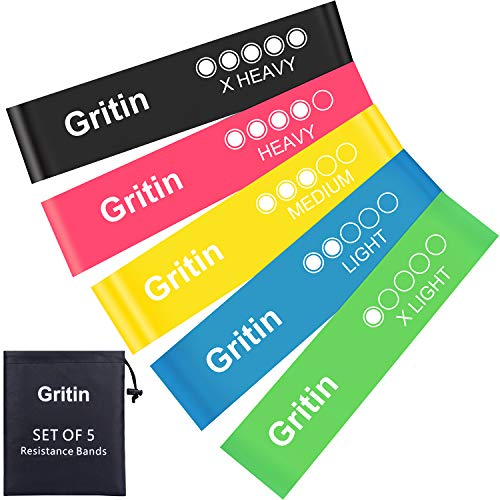 0687f1f8ec Gritin Resistance Bands, [Set of 5] Skin-Friendly Resistance Fitness  Exercise Loop