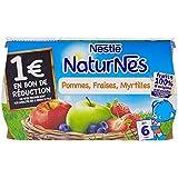 Nestlé Bébé Naturnes Pommes Fraises Myrtilles - Compote dès 6 Mois - 4 x 130g - Lot de 3