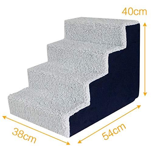 4 Schritte Pet-treppen,plüsch Weich Pet Treppen Anti-rutsch Schlafsofa Schwamm Sofa-rampe Für Zuhause-grau 54x38x40cm(21x15x16inch) (Trittleiter Kurze)