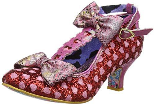 IRRA4|#Irregular Choice Total Freedom, Zapatos con Tacon y Tira Vertical para Mujer, Red Grey, 3.5 EU