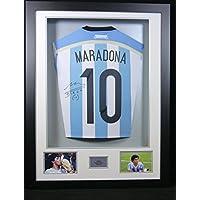 Diego Maradona firmato Argentina camicia posteriore con display 3d con gioiello