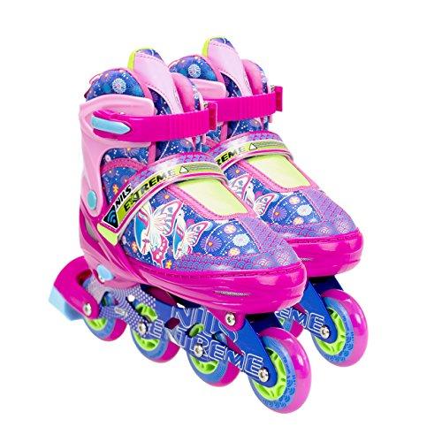 NILS Inliner Kinder Erwachsene Verstellbare Inline Skates | Kinderinliner Größenverstellbar ABEC7 Lager | Inlineskates in Größen 26-37 | LED Rollen | Pink Blau Rot | NJ4605 (Rosa, 30-33)
