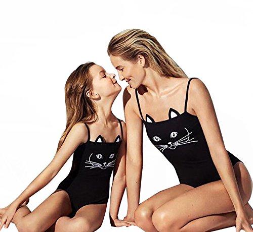 hter Familie Matching Outfits Niedliche Katze Print Schwimmanzug Bikini Set (S, Mama) (Niedliche Damen-outfits)