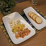 Homesake White Fine Porcelain Serving Rectangle Boat Platter, Set Of 2, White Serving Tray For Chips, Nachos, Pasta
